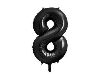 """Balon foliowy Cyfra """"8"""" osiem - 86 cm - czarny"""