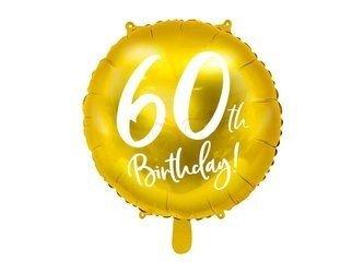 Balon foliowy 60th Birthday - 60 urodziny - złoty - 45 cm