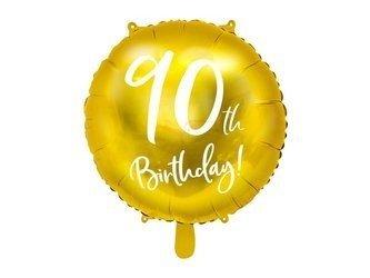 Balon foliowy 90th Birthday - 90 urodziny - złoty - 45 cm