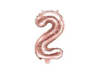 """Balon foliowy Cyfra """"2"""" dwa - 35 cm - różowe złoto"""