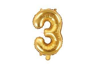 """Balon foliowy Cyfra """"3"""" trzy - 35 cm - złoty"""