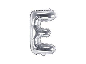 """Balon foliowy Litera """"E"""" - 35 cm - srebrny"""