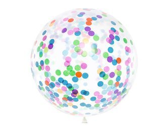 Balon z okrągłym konfetti - 1 m - mix