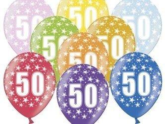 Balony 30 cm - 50th Birthday - 50 urodziny - Metallic Mix - 6 szt.