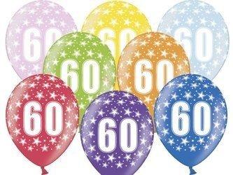 Balony 30 cm - 60th Birthday - 60 urodziny - Metallic Mix - 6 szt.