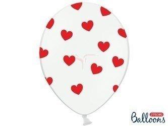 Balony 30 cm - Czerwone Serduszka - Pastel Pure - Białe -  50 szt.