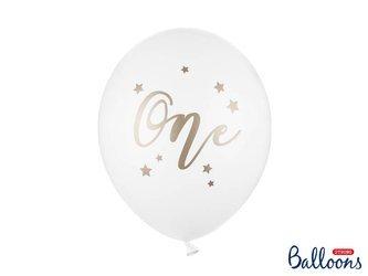 Balony 30 cm - One - Roczek - Pasel Pure White - 50 szt.