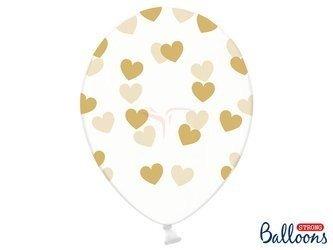 Balony 30 cm - Złote Serduszka - Crystal Clear - 6 szt.