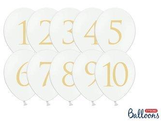 Balony 30cm - Cyfry - Pastel Pure White - 10 szt.