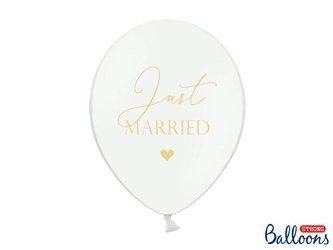 Balony 30cm - Just Married - Pure White - 50 szt.