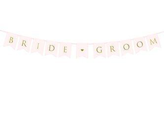 Baner Bride Groom - 15 x 155 cm - jasnoróżowy