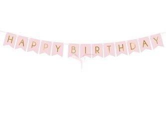 Baner Happy Birthday - jasny różowy - 15 x 175 cm