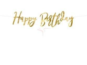 Baner Happy Birthday złoty - 16.5 x 62 cm