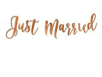 Baner Just Married - 20 x 77 cm - różowe złoto