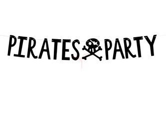 Baner Piraci - Pirates Party czarny - 14 x 100 cm