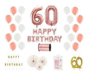 Kompletny zestaw na 60 urodziny - różowe złoto z białymi akcentami