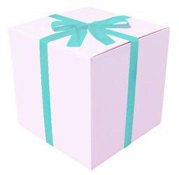 OZDOBNE DUŻE BIAŁE PUDEŁKO - na prezent - poczta balonowa - błękit