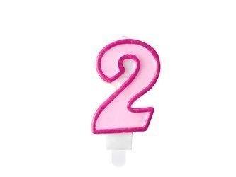 Świeczka urodzinowa Cyferka 2 - dwa - różowa - 7 cm