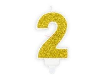 Świeczka urodzinowa Cyferka 2 - dwa - złota - 7 cm