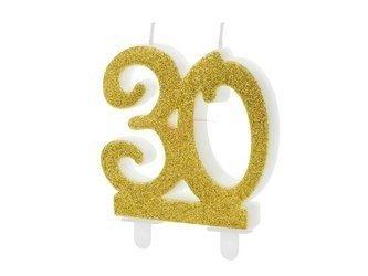 Świeczka urodzinowa liczba 30 - złota - 7.5 cm