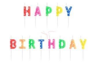 Świeczki urodzinowe Happy Birthday mix - 2.5 cm - 13 szt.