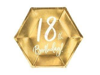 Talerzyki 18th Birthday - 18 urodziny - złoty - 20cm - 6 szt.