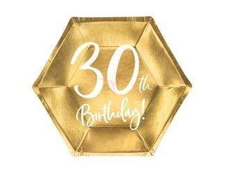 Talerzyki 30th Birthday - 30 urodziny - złoty - 20 cm - 6 szt.