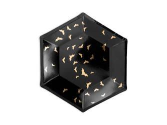 Talerzyki Trick or Treat - czarne ze złotym wzorem - 20 cm - 6 szt.