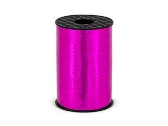 Wstążka plastikowa - ciemnoróżowa metalizowana - 5mm/225m