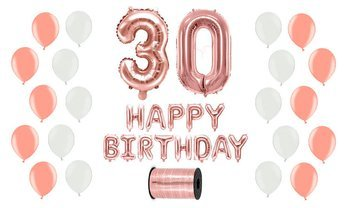 Zestaw Balonów na 30 urodziny - różowe złoto z białymi akcentami