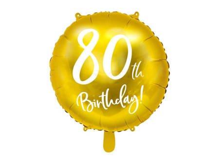 Balon foliowy 80th Birthday - 80 urodziny - złoty - 45 cm