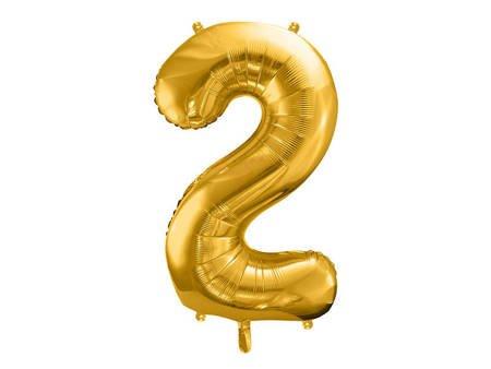 """Balon foliowy Cyfra """"2"""" dwa - 86 cm - złoty"""