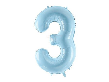 """Balon foliowy Cyfra """"3"""" trzy - 86 cm - jasny niebieski"""