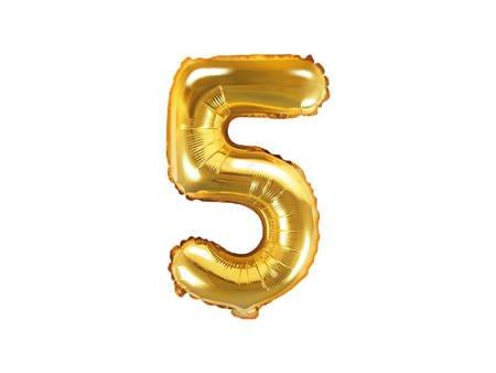 """Balon foliowy Cyfra """"5"""" pięć - 35 cm - złoty"""