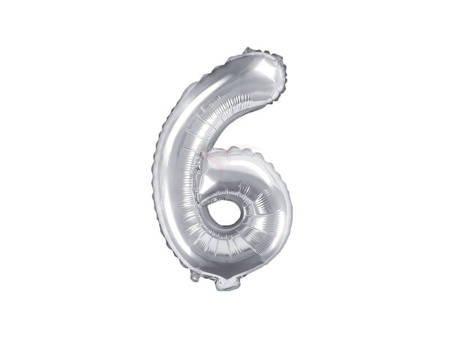 """Balon foliowy Cyfra """"6"""" sześć - 35 cm - srebrny"""