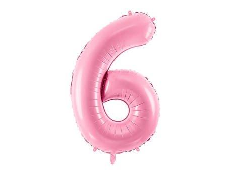 """Balon foliowy Cyfra """"6"""" sześć - 86 cm - różowy"""