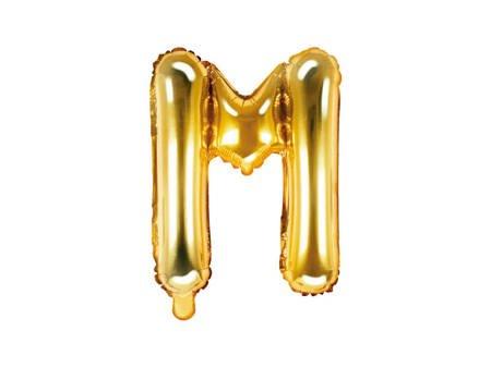"""Balon foliowy Litera """"M"""" - 35 cm - złoty"""