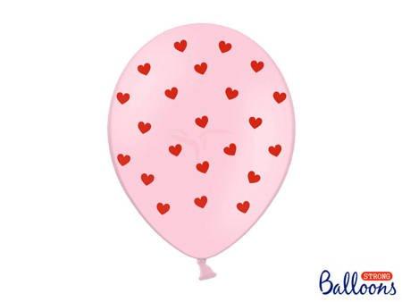 Balony 30 cm - Serca - Pastel Baby Pink - 6 szt.