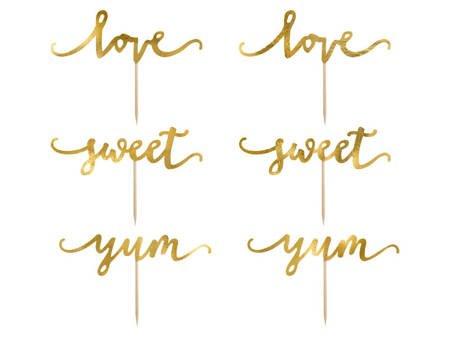 Dekoracje do muffinek Love - 13 cm - złote - 6 szt.