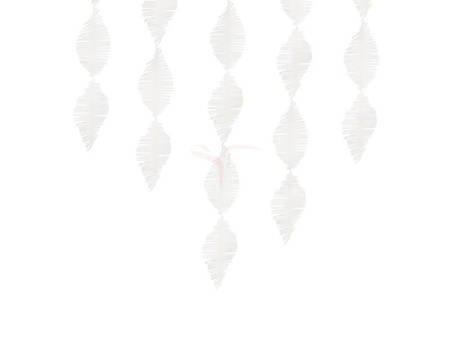 Girlanda z krepy - Frędzle - białe - 3 m