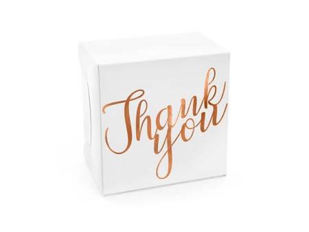 Ozdobne pudełka na ciasto - Thank you - 14 x 8,5 x 14 cm - różowe złoto - 10 szt.