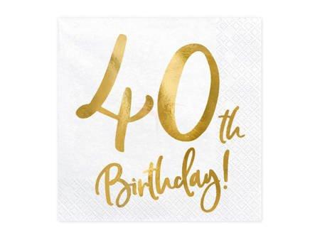 Serwetki 40th Birthday - 40 urodziny - białe - 33x33cm - 20 szt.