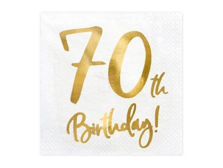 Serwetki 70th Birthday - 70 urodziny - białe - 33x33cm - 20 szt.
