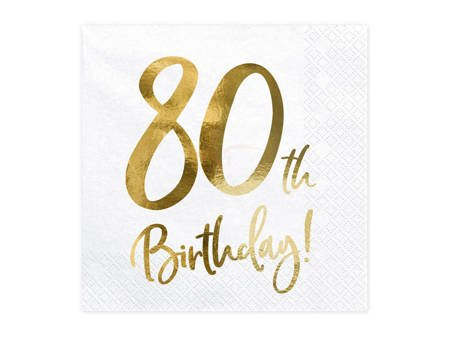 Serwetki 80th Birthday - 80 urodziny - białe - 33x33cm - 20 szt.