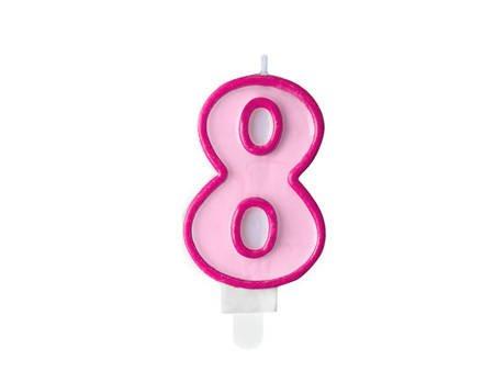 Świeczka urodzinowa Cyferka 8 - osiem - różowa - 7 cm