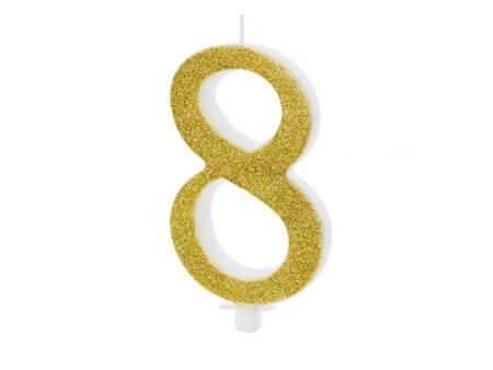Świeczka urodzinowa Cyferka 8 - osiem - złota - 10 cm