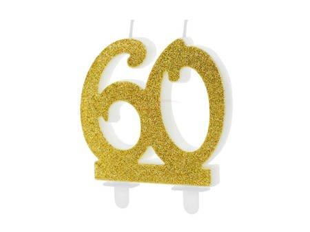 Świeczka urodzinowa liczba 60 - złota - 7.5 cm