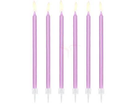Świeczki urodzinowe gładkie - jasny liliowy - 14 cm - 12 szt.