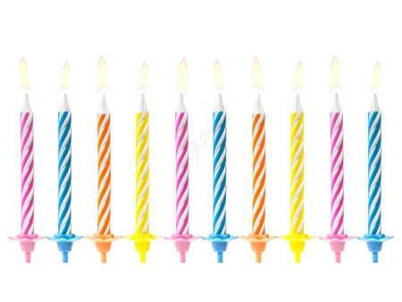 Świeczki urodzinowe mix - 6 cm - 10 szt.