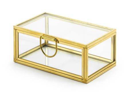 Szklane pudełko - 9 x 5,5 x 4 cm - złote